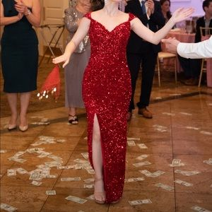 Portia and Scarlett Red Sequin Evening Dress